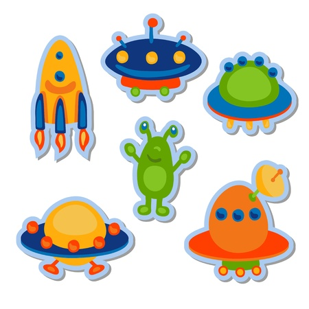 Cartoon ufo space icon set - vector Vector