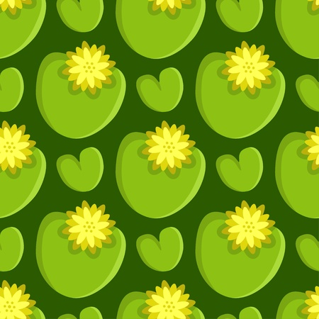 water lilly: Seamless pattern with lotus - vector Illustration