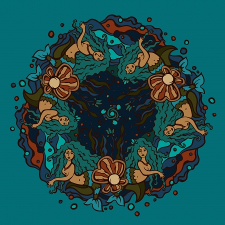 woman underwater: Decorative circle on the marine theme with mermaids - vector