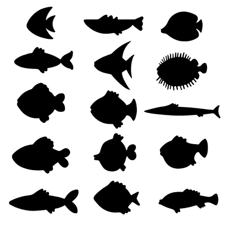 Vector silhouettes fish set Stock Vector - 18119922