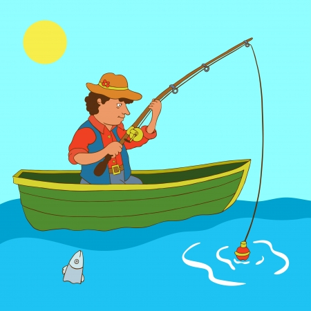 Illustration with fisherman and fish - vector Vector
