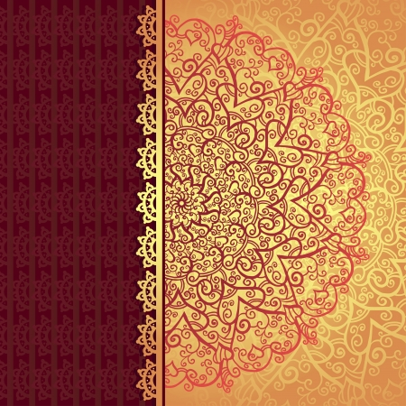 Vintage gold flowers ornament background with text field-vector