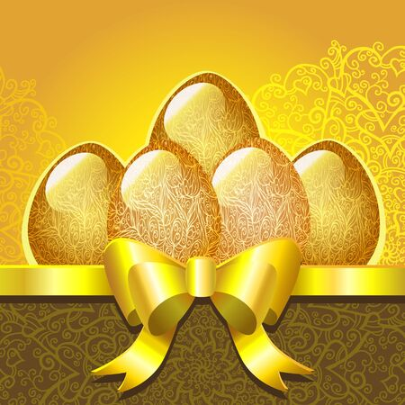 Ornamental easter eggs on a golden background - vector Vector