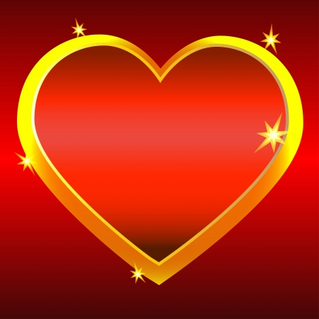 Golden heart on red background-vector Vector