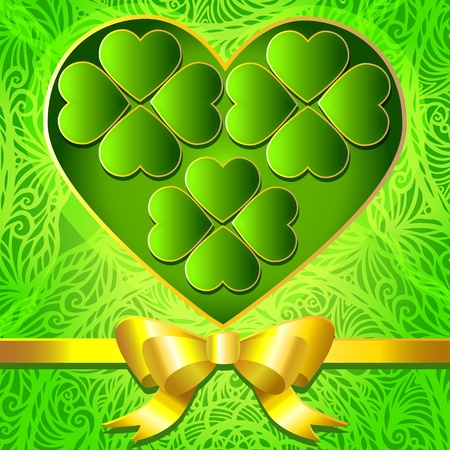 Green background with clover leaves St  Patrick-vector Vector