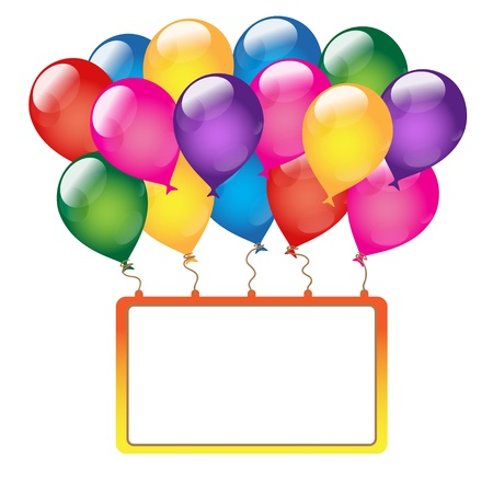 Holiday background with banner and balloon on a white background-vector Stock Vector - 18120073