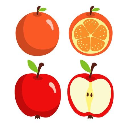 Apple and orange isolated on white background Illustration