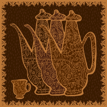 tarde de cafe: Naturaleza muerta con teteras y tazas