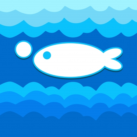versatile: Fish background with template for text - vector Illustration