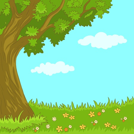 Landscape with tree and flowers-vector illustration  Vector