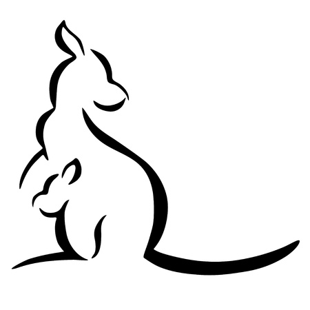Kangaroo silhouette on a white background
