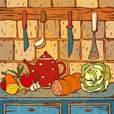 Illustratie van de keukentafel met voedsel en gebruiksvoorwerpen - vector