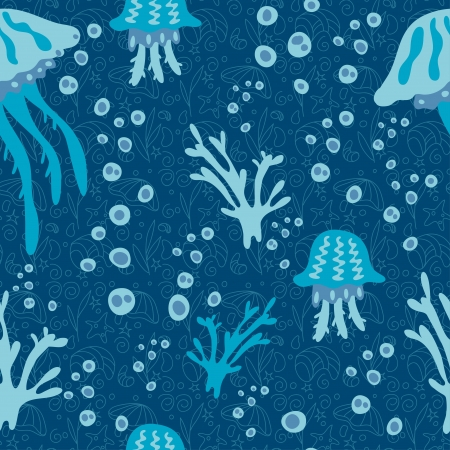 Seamless pattern on a sea theme with jellyfish-vector Stock Vector - 18345701