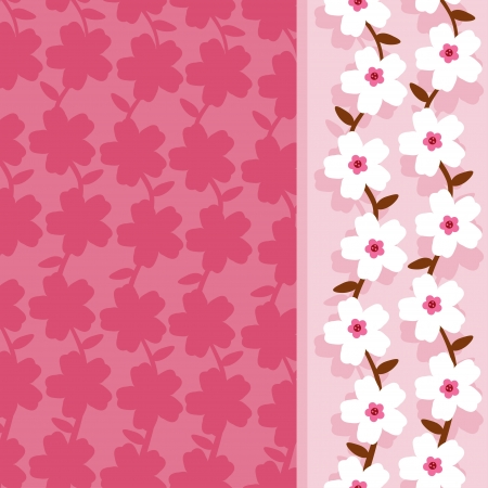 Pink floral background with text field-vector Vector
