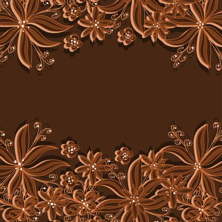 Brown floral background with text field-vector Stock Vector - 18345700