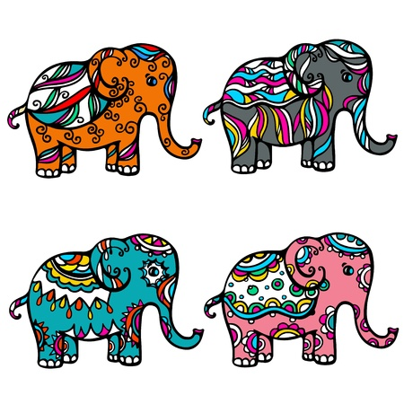 indian ink: Set of isolated colored ornamental elephant - vector
