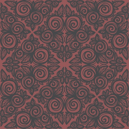 Gray pink floral seamless pattern-vector Vector