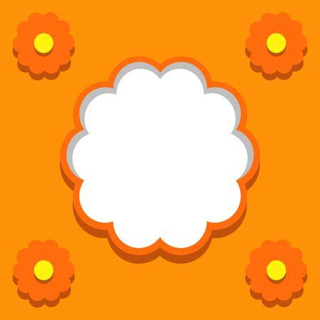 Orange background with floral frames and text field-vector Stock Vector - 18392433