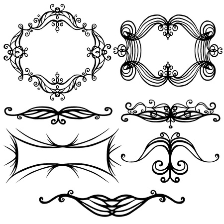 Isolated illustration set of decorative border and frame - vector