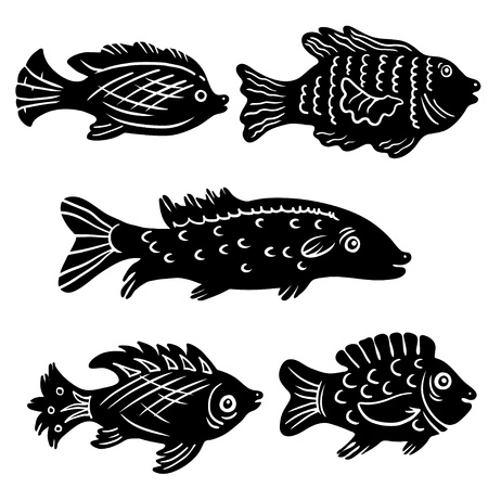 Isolated decorative silhouettes fish set - vector Stock Vector - 18392434