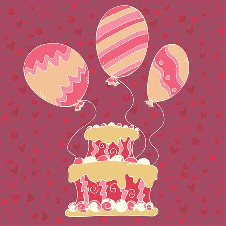 Pink background with cake and balloons - vector Vector