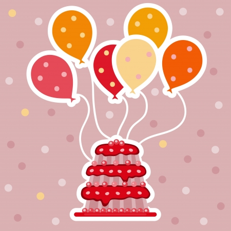 Pink background with balloons and a cake - vector Vector