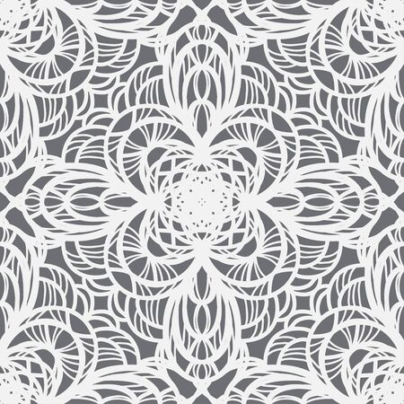 White ornamental  seamless pattern on a gray background-vector Stock Vector - 18414429