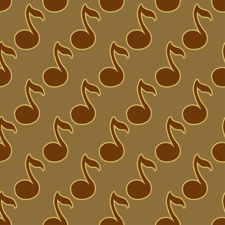 Brown gold seamless pattern with musical signs-vector Vector