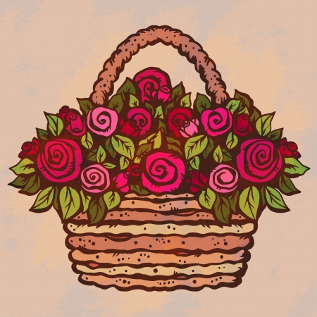 Bouquet of red roses in a basket on pink background-vector Vector