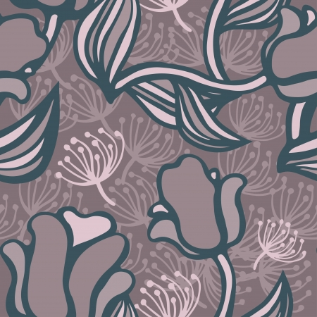 Floral seamless pattern with pink tulips-vector Vector