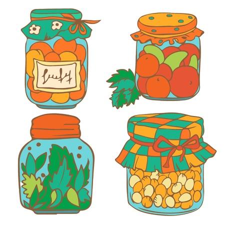 encurtidos: Conjunto de tarros de colores aislados sobre fondo blanco