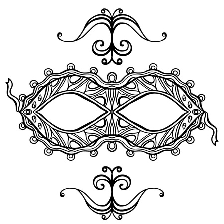 Black line ornate carnival mask and vignettes on a white background Vector