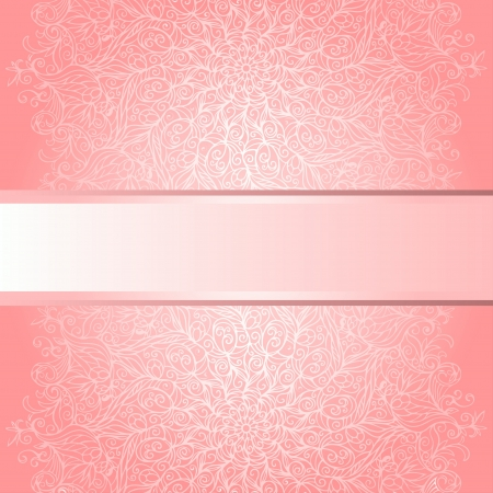 Pink floral ornament background with text field Vector