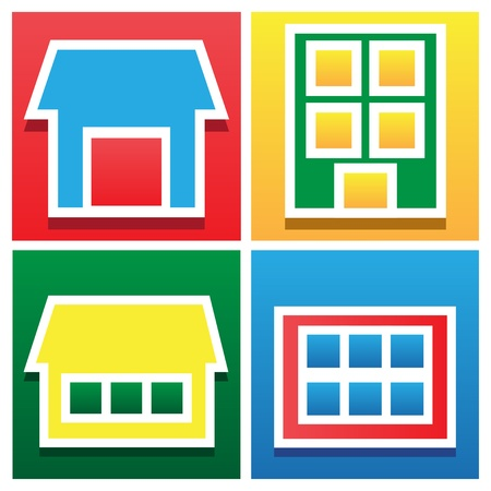 Set icon various applique houses-vector background Vector