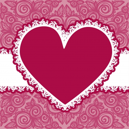 Vector lacy Valentines day heart with text field-vector