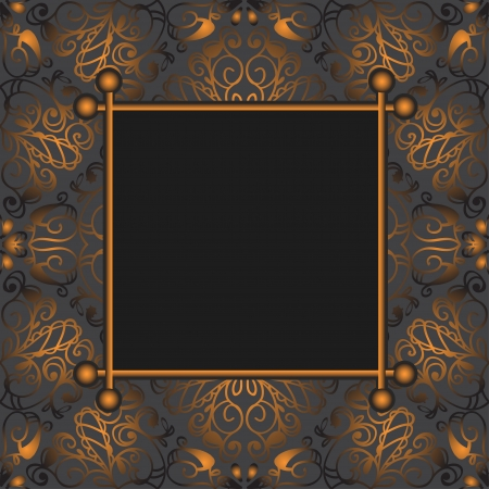 Dark gray gold abstract floral background with frame and with text field-vector Vector