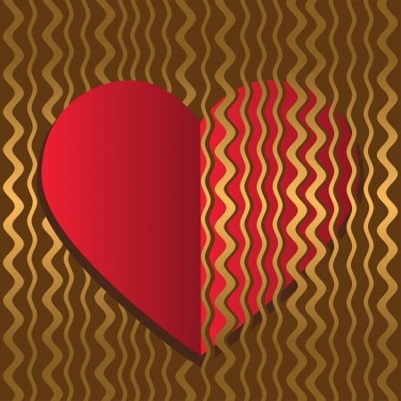 Abstract background with a red heart on a gold wave background-vector Stock Vector - 18563659