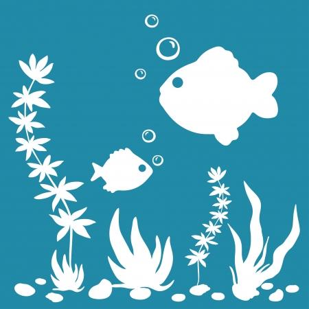 peces de acuario: El mundo submarino silueta blanca con plantas, peces, conchas sobre fondo azul, ilustraci�n vectorial