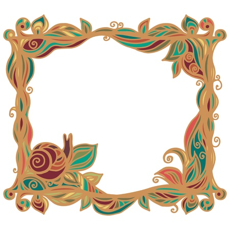 Vintage frame with plants and snail isolated on a white background with text field-vector Vector