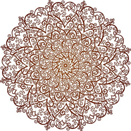 Brown ornamental round lace on a white background-vector Stock Vector - 18563709