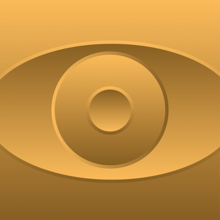 close up eyes: Abstract gold symbol eye icon-vector