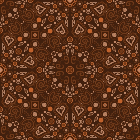 Brown floral seamless ornament endless background with flowers and hearts-vector Stock Vector - 18563701