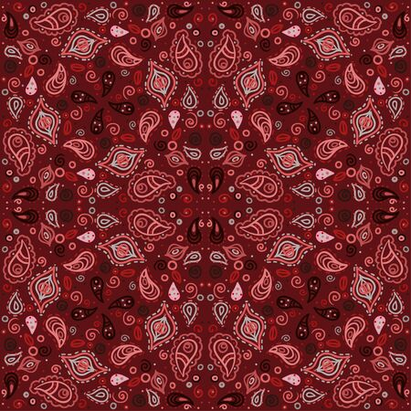 Red floral seamless ornament endless background with abstract forms-vector Stock Vector - 18563702
