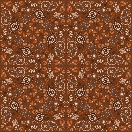 Brown floral seamless ornament endless background with abstract forms-vector Stock Vector - 18563706