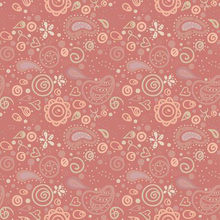 Pink floral seamless ornament endless background with hearts and abstract forms-vector Stock Vector - 18563696