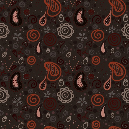 Brown floral seamless ornament endless background with hearts and abstract forms-vector Stock Vector - 18563672