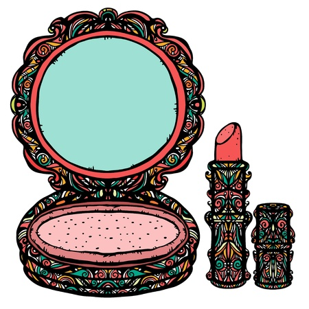 Make-up d'epoca set di icone di una compatta e rossetto su uno sfondo bianco con colore forme astratte-vettore Vettoriali