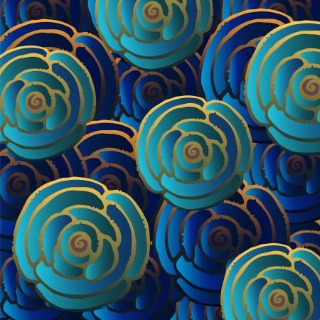 oriente: Fondo azul abstracto con las rosas de oro-vector Vectores