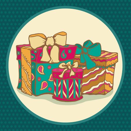 holiday background with colorful gifts Vector