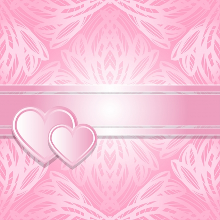 Abstract pink background with hearts and text field - vector  Vector